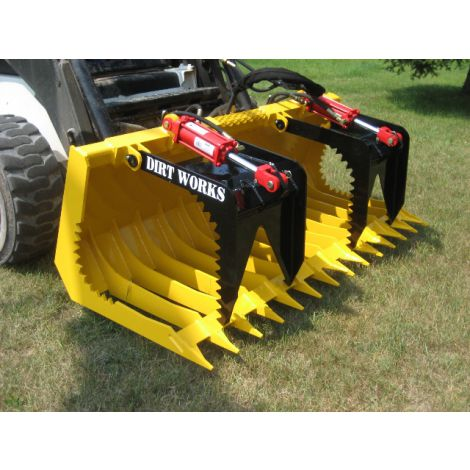 "72"" Brush Grapple Tine Bucket with Serrated Grapple Teeth"
